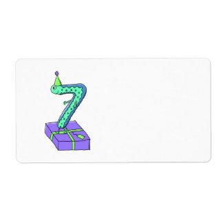 7th Birthday Cartoon. Shipping Label