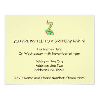 7th Birthday Cartoon, Yellow and Green. 11 Cm X 14 Cm Invitation Card