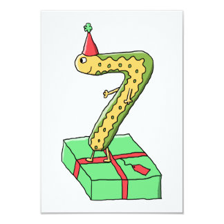 7th Birthday Cartoon, Yellow and Green. 9 Cm X 13 Cm Invitation Card