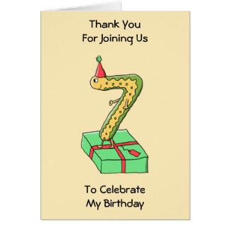 7th Birthday Cartoon, Yellow and Green. Card