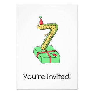7th Birthday Cartoon, Yellow and Green. Custom Invitation