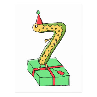 7th Birthday Cartoon, Yellow and Green. Postcard