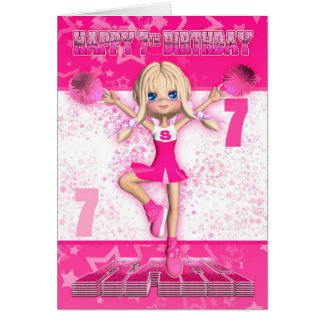 7th Birthday Cheerleader Dancing, Stars In Pinks Greeting Card