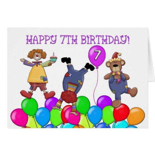 7th Birthday Clowns Balloons Greeting Card