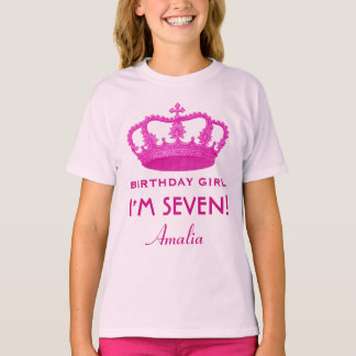 7th Birthday Custom Name Crown Gift Idea V02 T-Shirt