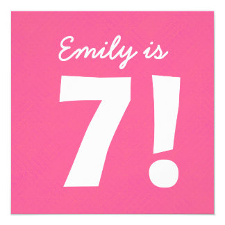 7th Birthday Custom Name Pink Dots for GIRL B7Z 13 Cm X 13 Cm Square Invitation Card