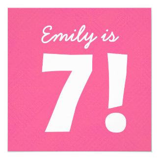 7th Birthday Custom Name Pink Dots for GIRL B7Z 13 Cm X 13 Cm Square Invitation Card