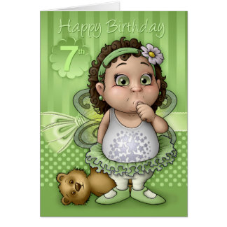 7th Birthday Cute Fairy Ballet Dancer In Green Greeting Card