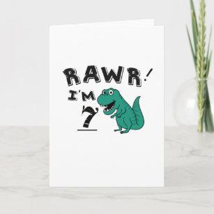 7th Birthday Dinosaur Gift For 7 Year Old Boys Card