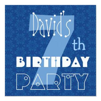 7th Birthday for Boy Modern Blue Pattern 13 Cm X 13 Cm Square Invitation Card