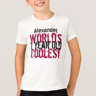7th Birthday Gift World's Coolest 7 Year Old Boy T-shirt
