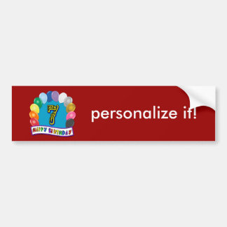 7th Birthday Gifts with Assorted Balloons Design Bumper Stickers