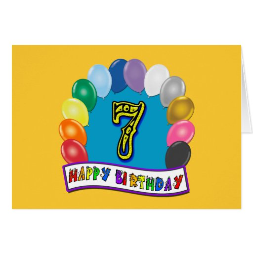7th Birthday Gifts with Assorted Balloons Design Greeting Card