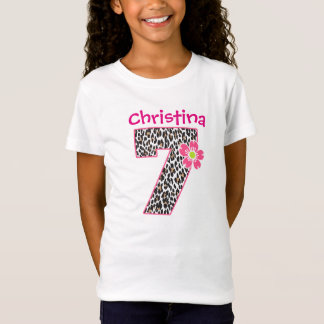7th Birthday Girl Hot Pink & leopard print T-Shirt