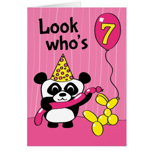 7th Birthday - Girl Panda with Balloons Cards
