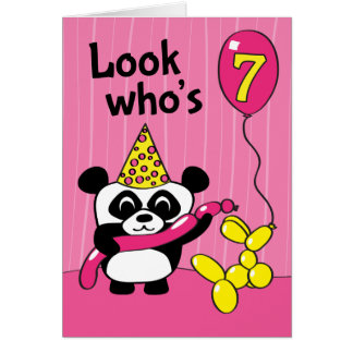 7th Birthday - Girl Panda with Balloons Greeting Card