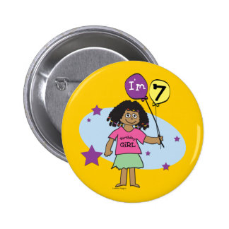 7th Birthday Girls Pinback Buttons