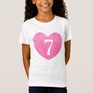 7th Birthday Glitter Pink heart Personalized T-Shirt