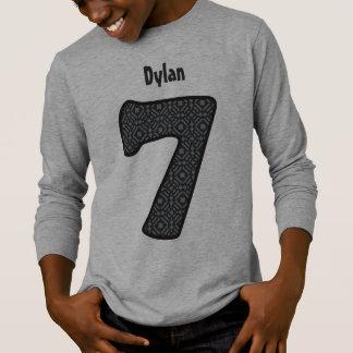 7th Birthday GRAY PATTERN Seven Year Custom V09 T-Shirt