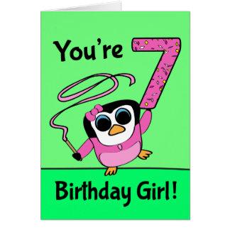 7th Birthday - Gymnast Penguin Greeting Card