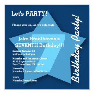 7th Birthday KIDS Seven Year Old Big Blue Star K07 13 Cm X 13 Cm Square Invitation Card