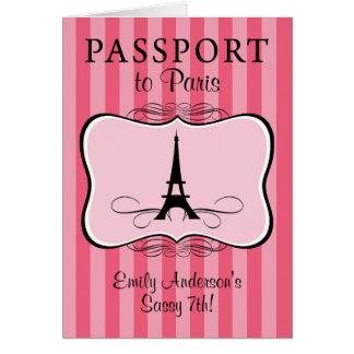 7th Birthday Paris Passport Card