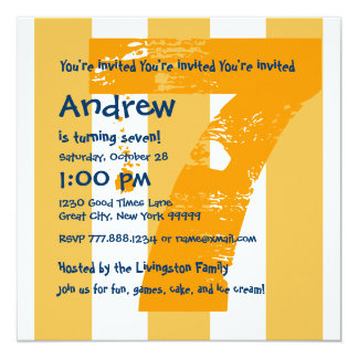 "7th Birthday Party 7 Year Old Grunge Design A01 5.25"" Square Invitation Card"