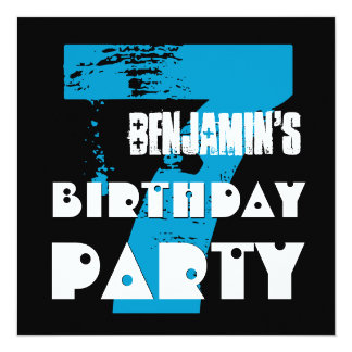 "7th Birthday Party 7 Year Old Grunge Design 5.25"" Square Invitation Card"