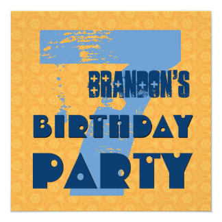 "7th Birthday Party 7 Year Old Grunge Design V2 5.25"" Square Invitation Card"