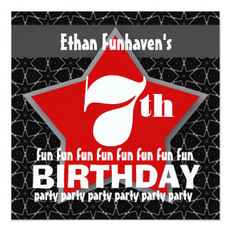 "7th Birthday Party Black Red White STAR V07 5.25"" Square Invitation Card"