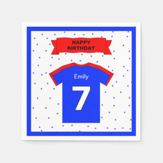 7th birthday party custom name for boys and girls disposable napkins
