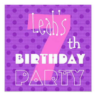 7th Birthday Party for Girl Cute Polka Dot Pattern Card