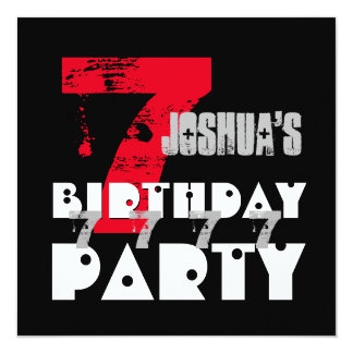 "7th Birthday Party Grunge Seven Year Old G07Z 5.25"" Square Invitation Card"