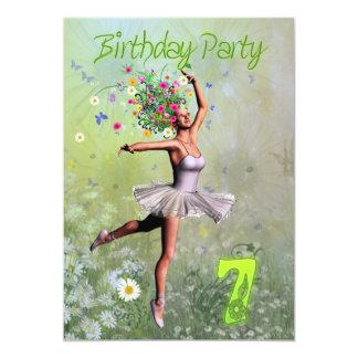 "7th Birthday party invitation 5"" X 7"" Invitation Card"