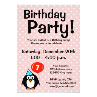 "7th Birthday party invitations with cute penguin 5"" X 7"" Invitation Card"