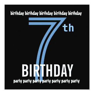 "7th Birthday Party Modern Blue and Black W689C 5.25"" Square Invitation Card"