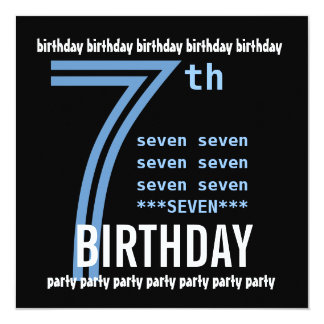 7th Birthday Party Modern Blue and Black W689D Invitations
