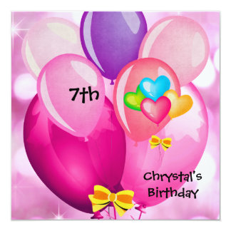 7th Birthday Party Pink Yellow Blue Balloons Girl 13 Cm X 13 Cm Square Invitation Card