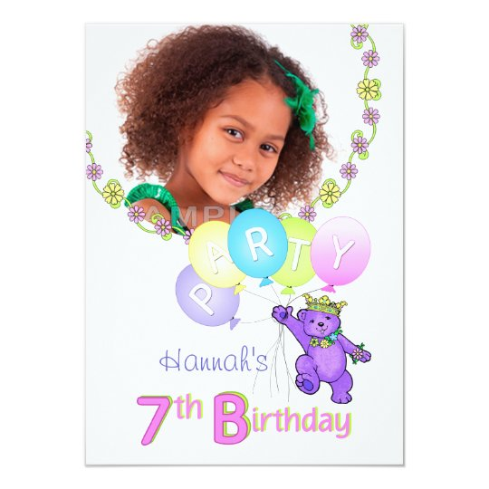7th Birthday Party Princess Bear Custom Photo Card