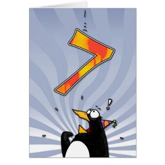 7th Birthday - Penguin Surprise Card