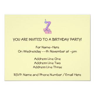 7th Birthday Pink and Purple Cartoon. 11 Cm X 14 Cm Invitation Card