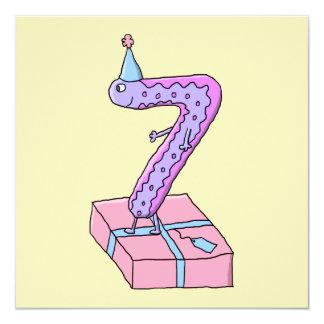 7th Birthday Pink and Purple Cartoon. 13 Cm X 13 Cm Square Invitation Card
