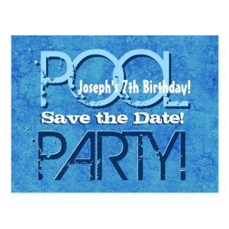 7th Birthday Pool Party Save the Date V007 Postcard