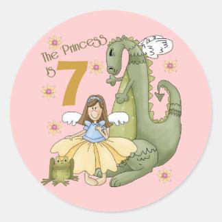 7th Birthday Princess Round Sticker