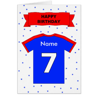 7th birthday red blue t-shirt add a name greeting card