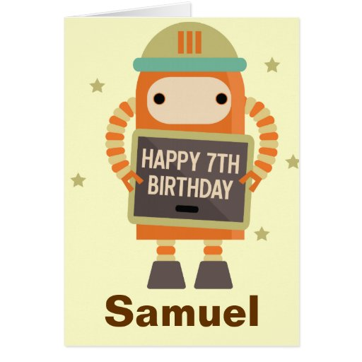 7th Birthday Robot vintage personalized card