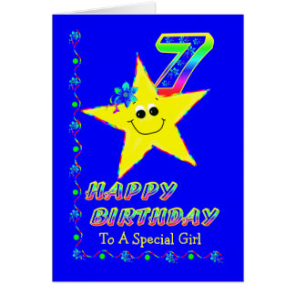 7th Birthday Stars for Girls Greeting Cards