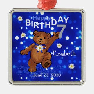 7th Birthday Teddy Bear Keepsake Silver-Colored Square Decoration