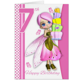 7th Birthday Tipsy Cake Fantasy Fairy Cutie Pie Greeting Card