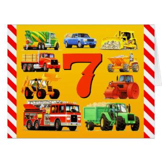 7th Birthday Trucks Big Greeting Card